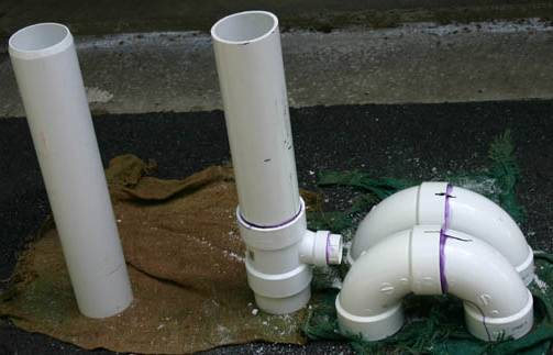 Picture of the PVC cemented bends and pipes.